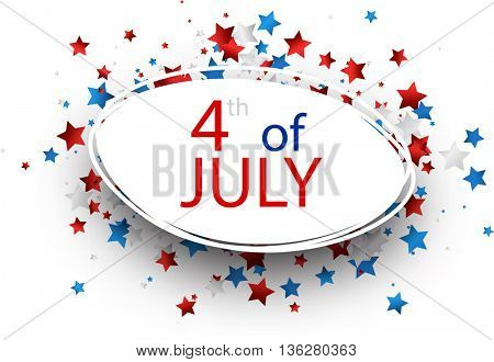 4th of July Independence Day oval background. Vector paper illustration.