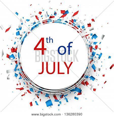 4th of July Independence Day round background. Vector paper illustration.