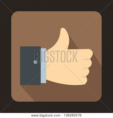 Thumb up gesture icon in flat style on a brown background
