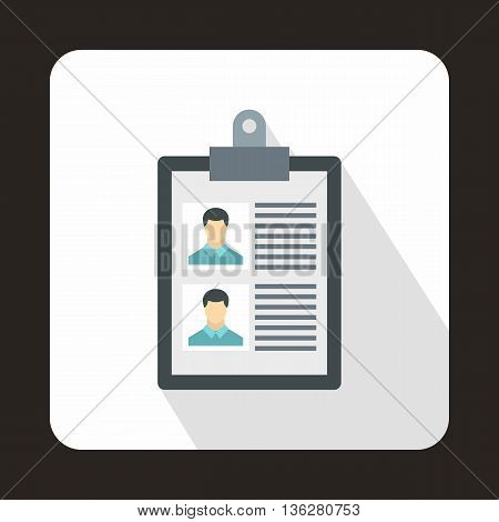 Resume of two candidates icon in flat style on a white background