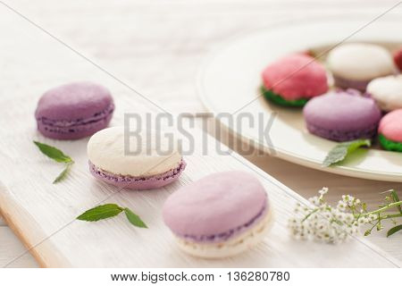 Colorful french macaroons sets on board and plate. Different kinds of macaroons, one set in plate on background, focus on three purple macaroons on wooden board.