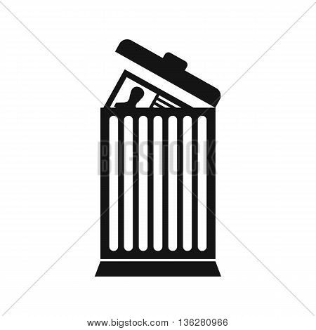 Resume thrown away in the trash can icon in simple style isolated on white background