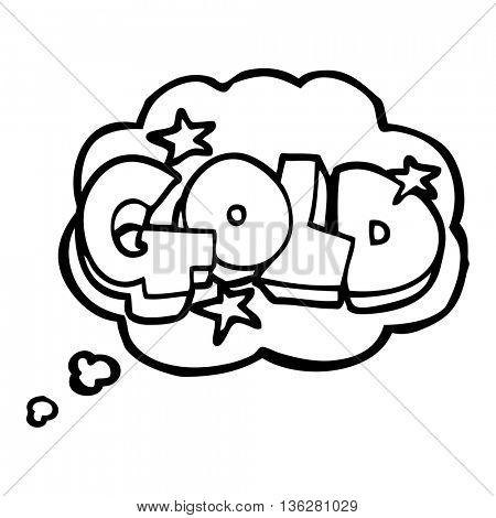 freehand drawn thought bubble cartoon word gold
