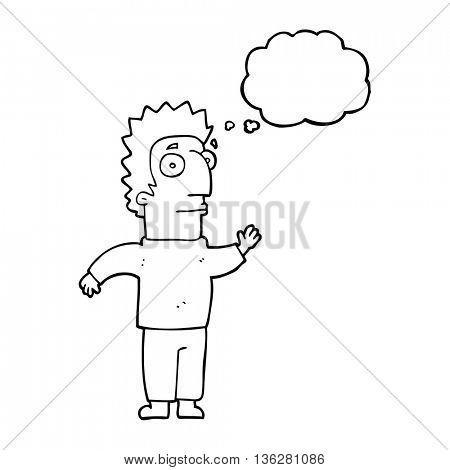freehand drawn thought bubble cartoon man waving
