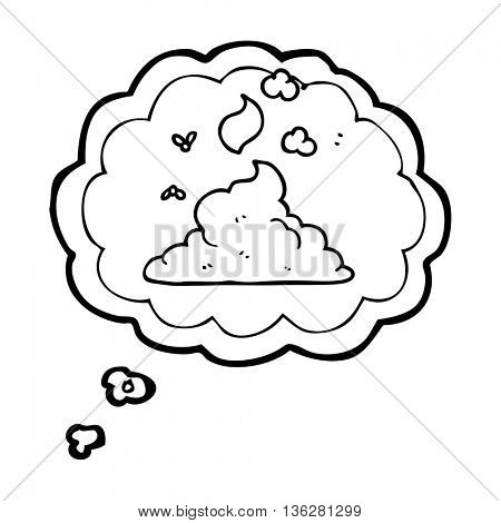 freehand drawn thought bubble cartoon steaming pile of poop