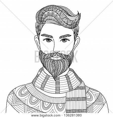 Lines art design of hipster man for adult coloring book,tattoo, poster and T-Shirt design