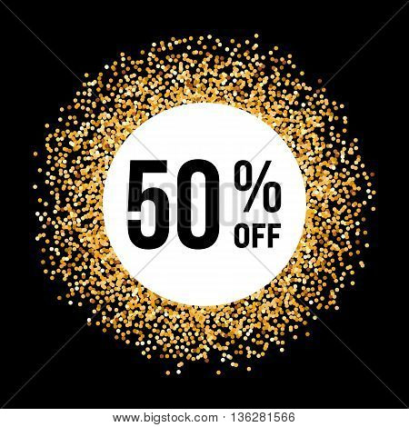 Golden Circle Frame on Black Background with Discount Fifty Percent