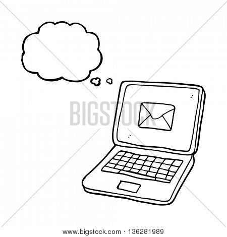 freehand drawn thought bubble cartoon laptop computer with message symbol on screen