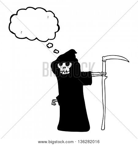 freehand drawn thought bubble cartoon death