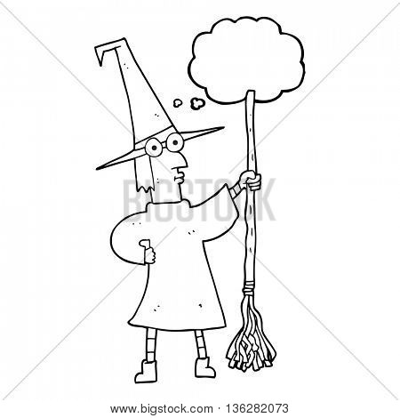 freehand drawn thought bubble cartoon witch with broom