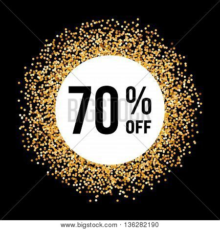 Golden Circle Frame on Black Background with Discount Seventy Percent