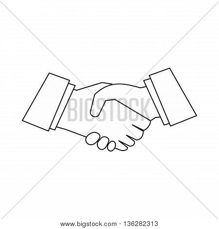 Handshake icon in outline style isolated on white background