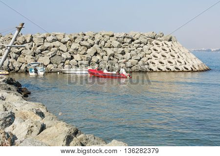 Boats at the small harbor in Limassol Cyprus.