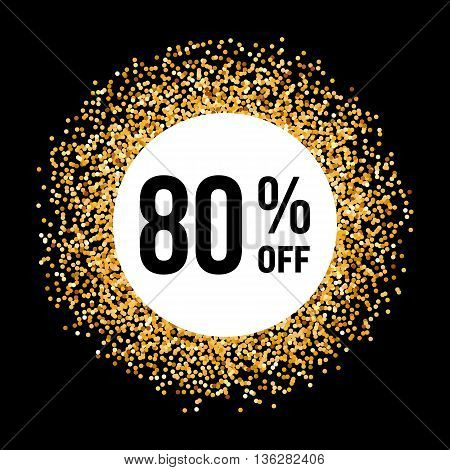 Golden Circle Frame on Black Background with Discount Eighty Percent