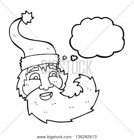 freehand drawn thought bubble cartoon santa claus laughing