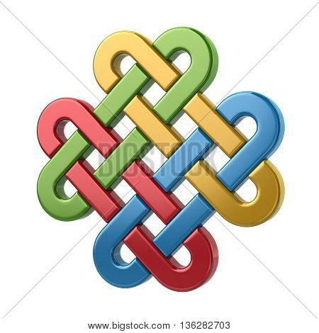 3D Illustration Of Colorful Eternal Knot