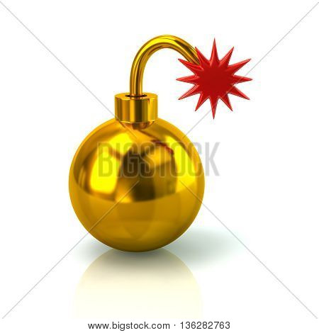 3D Illustration Of Golden Bomb With Burning Wick