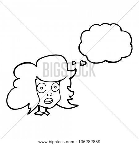 freehand drawn thought bubble cartoon surprised female face