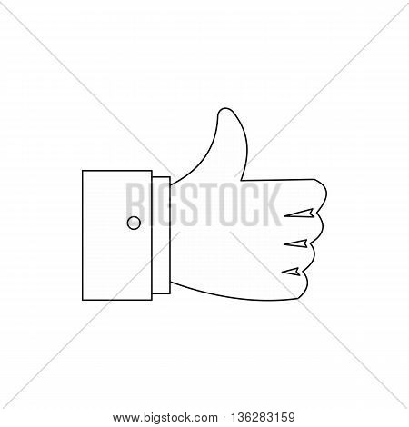 Thumb up gesture icon in outline style isolated on white background