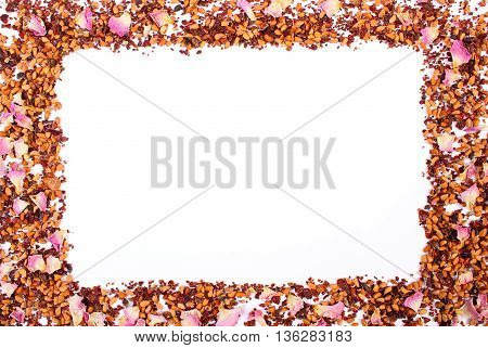 Frame Of Dried Wild Rose Petals And Tea Grains On White Background, Copy Space For Text