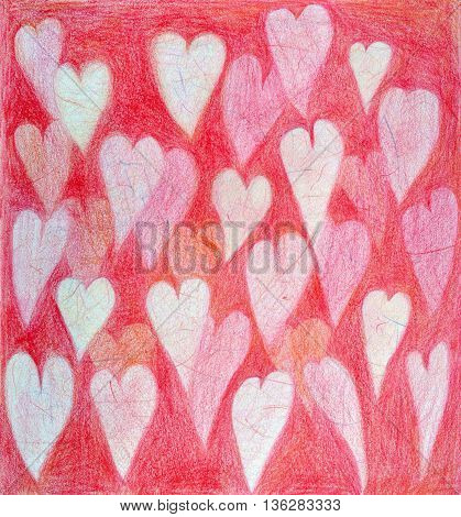 Many hearts on pink background handpainted  color pencils