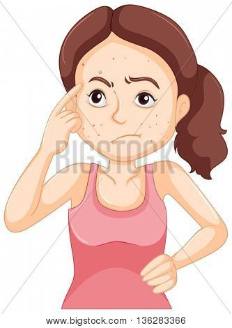 Woman with face full of pimples illustration