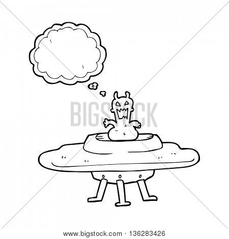freehand drawn thought bubble cartoon alien in flying saucer