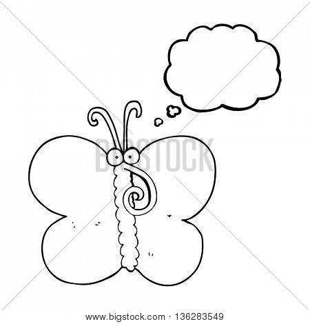 freehand drawn thought bubble cartoon butterfly