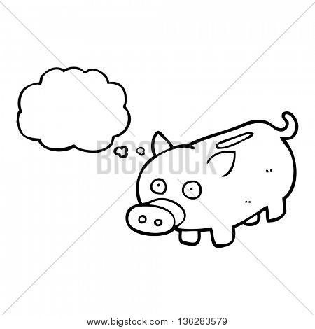 freehand drawn thought bubble cartoon piggy bank