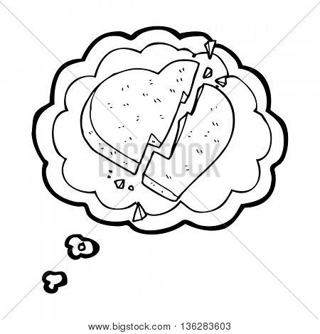 freehand drawn thought bubble cartoon broken heart symbol