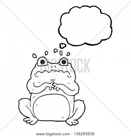 freehand drawn thought bubble cartoon funny frog