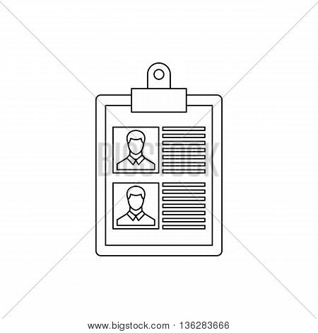 Resume of two candidates icon in outline style isolated on white background