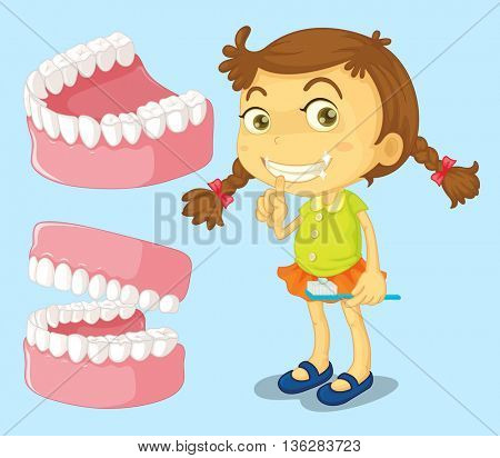 Little girl with clean teeth illustration