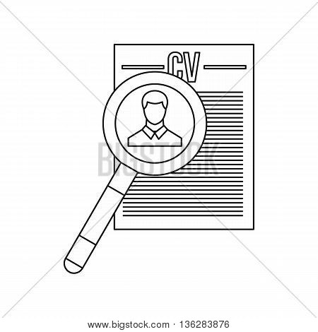 Magnifying glass over curriculum vita icon in outline style isolated on white background