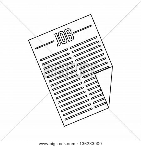Newspaper with the headline Job icon in outline style isolated on white background
