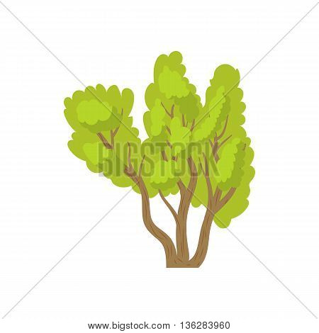 Green multi stemmed tree icon in cartoon style on a white background