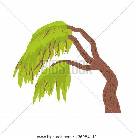 Weeping willow icon in cartoon style on a white background