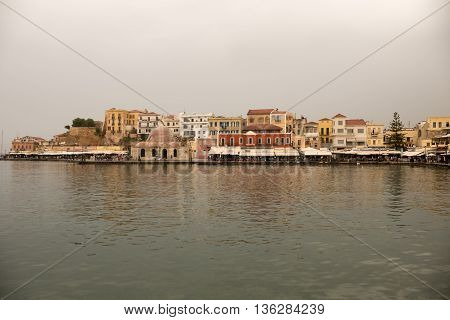 Greece, Chania - May, 15. 2016: Port Of Chania At A Rainy Afternoon.