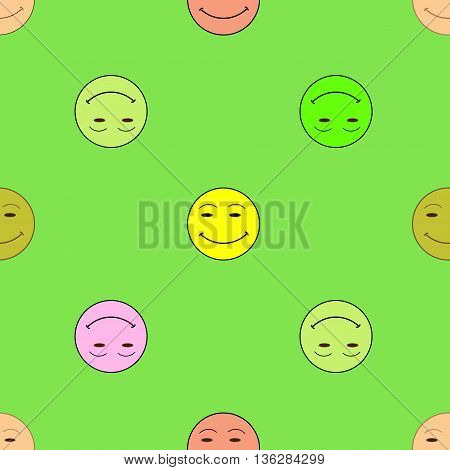 Smile happiness sign green background. Fashion graphic background design. Modern stylish abstract colorful texture. Template for prints textiles wrapping wallpaper website etc VECTOR illustration
