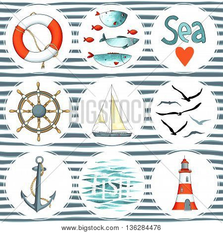 Sea set of 9 nautical elements isolated on white. There are lighthouse, seagulls, sail boat, life buoy, fish, wheel and anchor. Vector illustration on striped background. Imitation of watercolor.