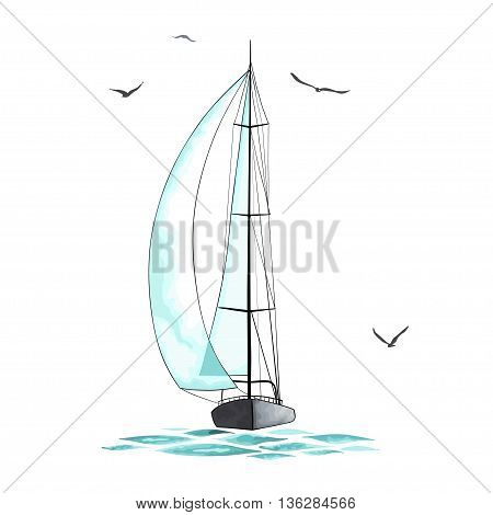 Sailboat in the sea and seagulls around. Objects made in the vector and isolated on white background. Watercolor imitation. Sport yacht, sailboat.
