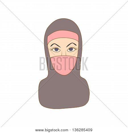 Woman dressed with black headscarf icon in cartoon style on a white background