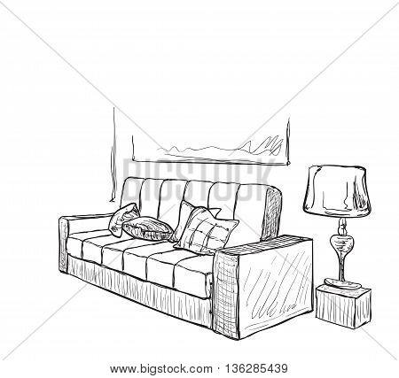Room interior sketch. Hand drawn sofa and lamp