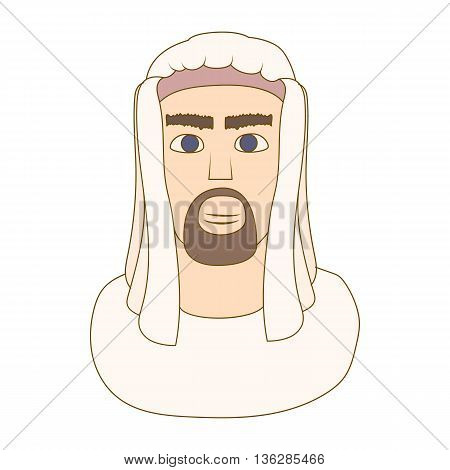 Arabic man in traditional muslim hat icon in cartoon style on a white background