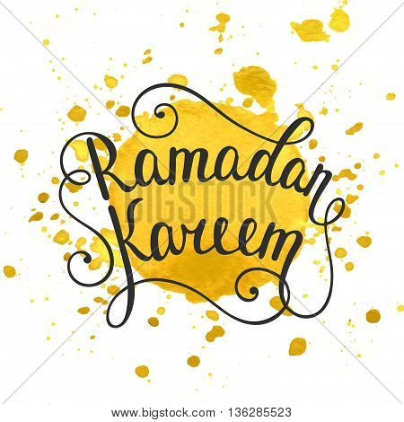 Ramadan Kareem greeting card design template with modern calligraphy yellow watercolor splashes on white background. Handwritten lettering. Hand drawn vector design elements. Muslim holy month.