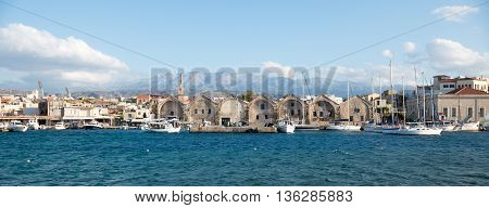 Greece, Chania - May, 21. 2016: Port Of Chania At A Sunny Afternoon.