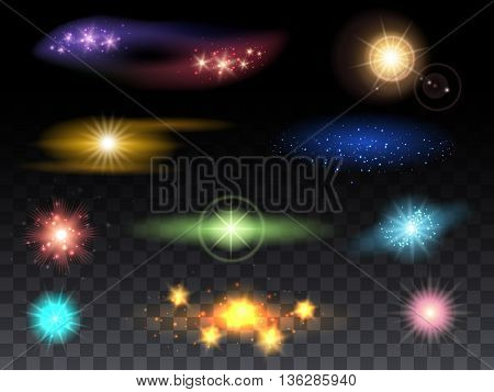 Lens flare effects and glowing light effects vector illustration