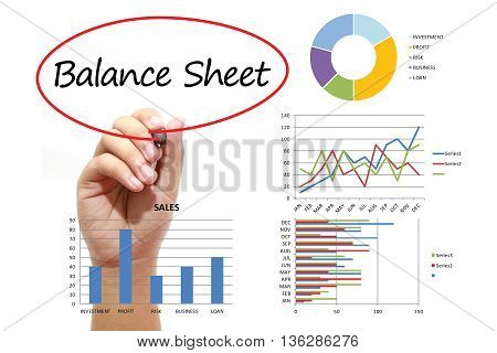 Businessman writing Balance Sheet in red circual on virtual screen. Business banking finance and investment concept.
