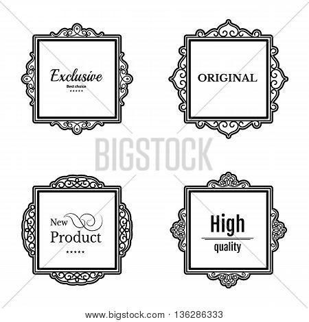 Exclusive decor elements or shape for business. Vintage frame in set. Vector page decoration. Decoration for business, wedding album or restaurant menu. Calligraphic design borders