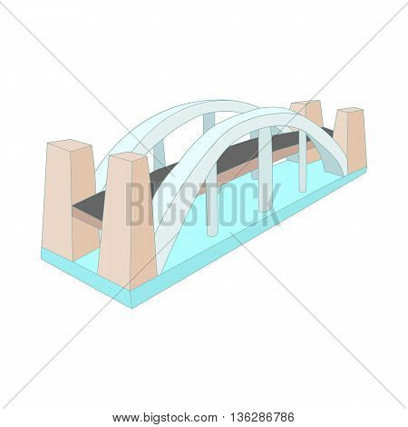 Bridge over river icon in cartoon style isolated on white background. Structure symbol